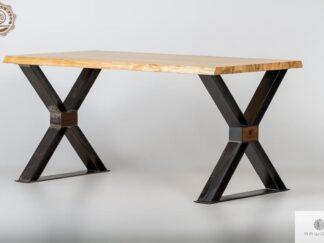 Designerski stol z debowym blatem i nogami X do jadalni BREGON