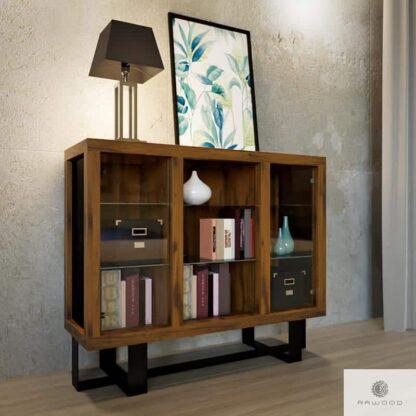 Komoda drewniana do salonu pokoju ze szklem MOCCA
