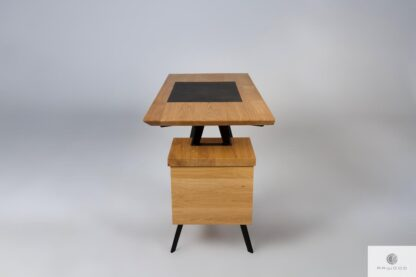 Oak desk with leather on steel legs VITA find us on https://www.facebook.com/RaWoodpl/