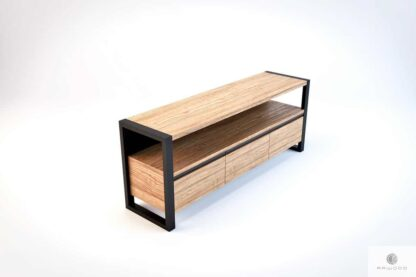 TV cabinet of oak wood and steel to living room NESCA III find us on https://www.facebook.com/RaWoodpl/