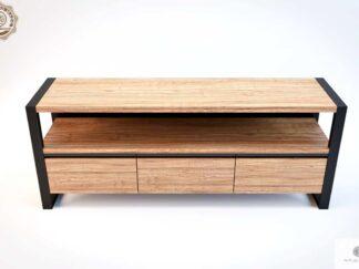 Szafka RTV z drewna debowego i stali do salonu NESCA III