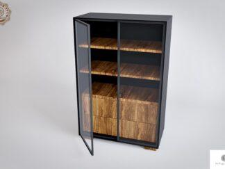 Designerska duza komoda witryna z wnetrzem z drewna litego CARLA