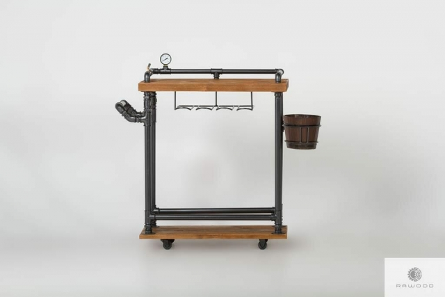 Industrial bar cart on wheels wooden bar DENAR find us on https://www.facebook.com/RaWoodpl/