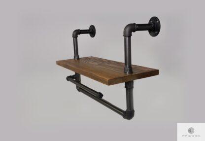 Shelf with hanger of solid wood to bathroom DENAR Furniture Manufacturer RaWood Premium Furniture
