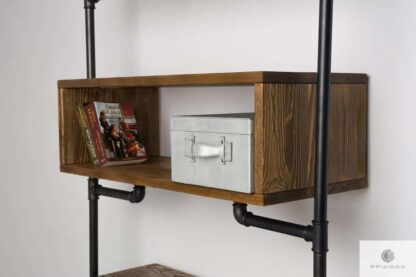 Shelving unit of solid wood to living room office DENAR