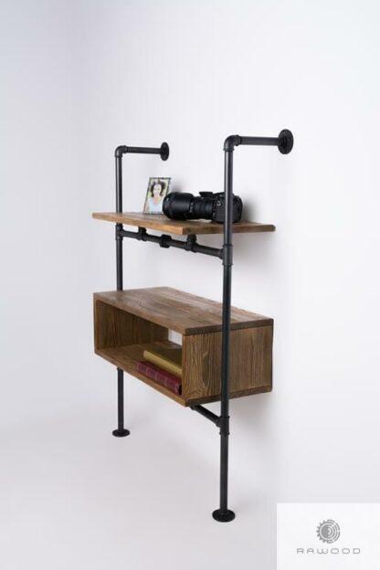 Industrial wooden wall bookcase modular to room DENAR