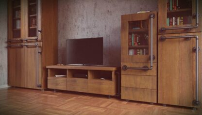 Industrial bookcase of solid wood to living room DENAR