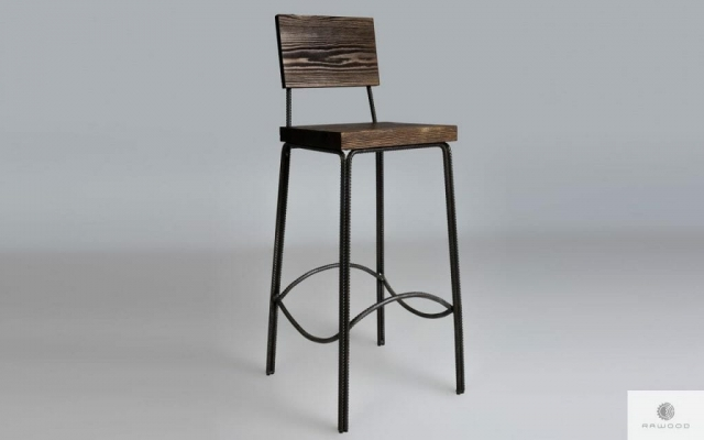 Barstool of wood with seat-back HEGEL find us on https://www.facebook.com/RaWoodpl/