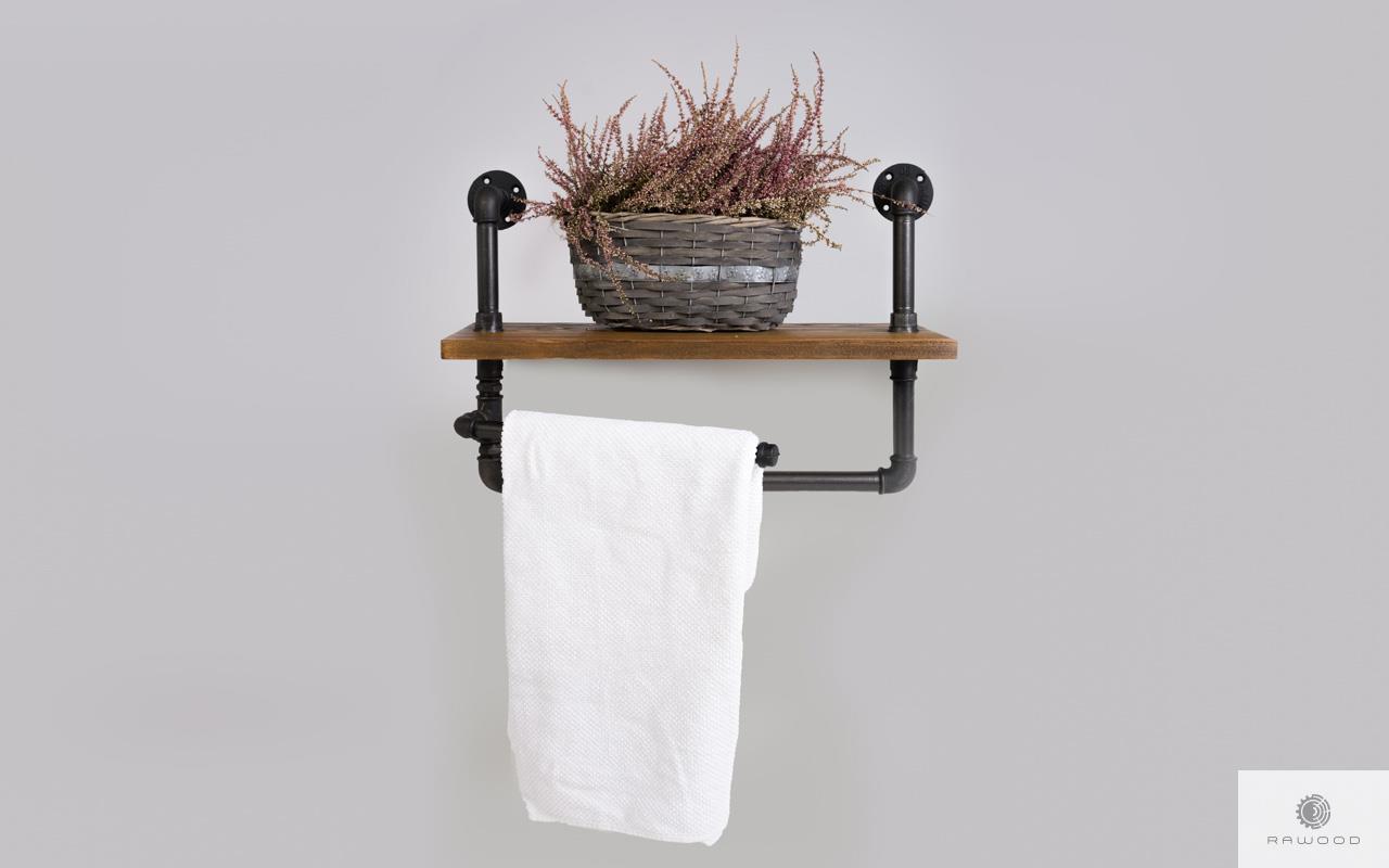 Shelf with hanger of solid wood for bathroom DENAR find us on https://www.facebook.com/RaWoodpl/