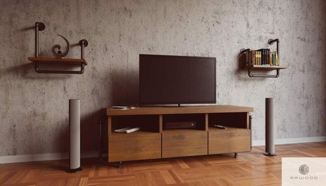 Rustical TV cabinet of solid wood DENAR find us on https://www.facebook.com/RaWoodpl/