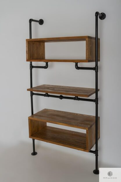 Wooden wall bookcase in industrial style to living room DENAR