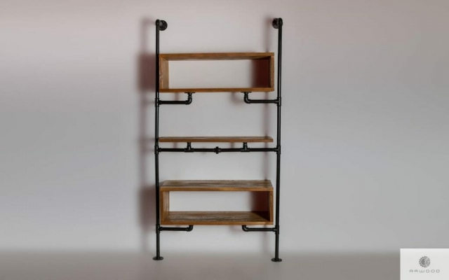 Modular shelving unit of solid wood to living room DENAR find us on https://www.facebook.com/RaWoodpl/
