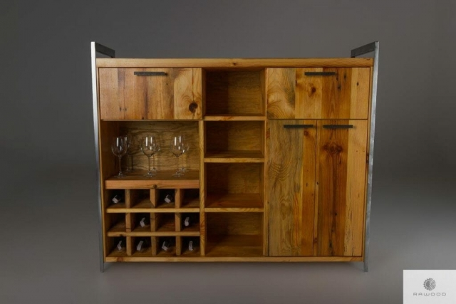 Industrial bar of old solid wood to living room find us on https://www.facebook.com/RaWoodpl/