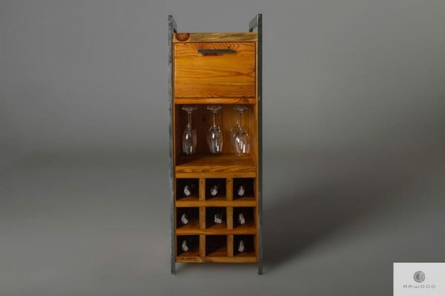 Bar cabinet of old pine wood to living room office find us on https://www.facebook.com/RaWoodpl/