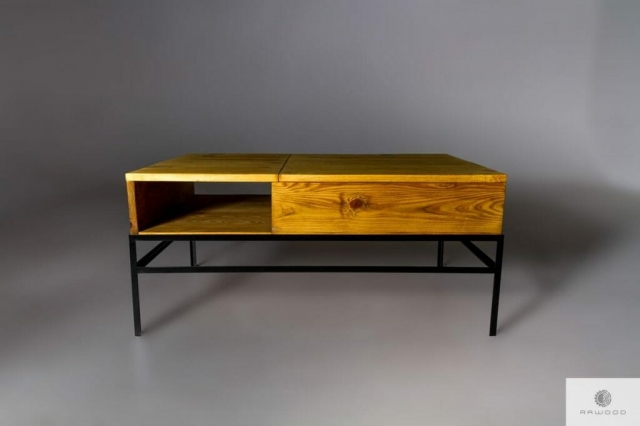 Coffee table with pine raised tabletop ASTOR find us on https://www.facebook.com/RaWoodpl/