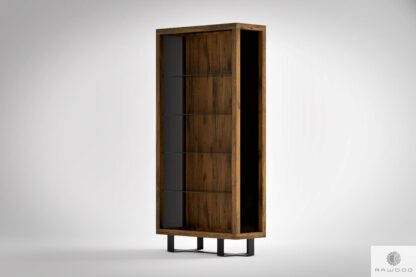 Rustic glass cabinet bookcase to living room office MOCCA Furniture Manufacturer RaWood Premium Furniture