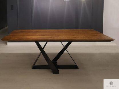 Table of oak wood on metal base to dining room living room BORNEO find us on https://www.facebook.com/RaWoodpl/