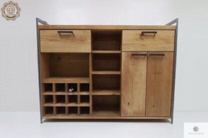 Industrialny barek ze starego drewna litego do jadalni salonu Producent Mebli RaWood Premium Furniture