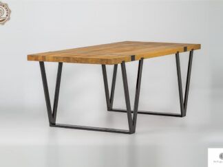Industrial table of oak solid wood on metal legs NERON