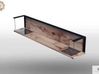 Loft wall shelf of oak wood and glass to living room IBSEN find us on https://www.facebook.com/RaWoodpl/