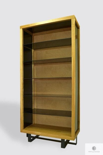 Rustic glass cabinet bookcase to living room MOCCA