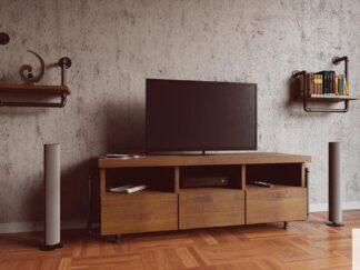 Rustical TV cabinet of solid wood to living room DENAR find us on https://www.facebook.com/RaWoodpl/