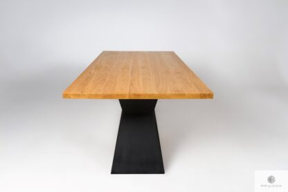Oak table on black metal base to dining room PHARELL find us on https://www.facebook.com/RaWoodpl/