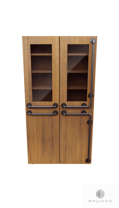 Industrial double display cabinet of pine wood to living room DENAR find us on https://www.facebook.com/RaWoodpl/