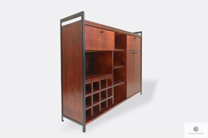 Industrial bar cabinet of wood for home