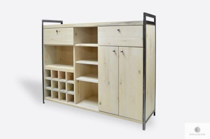 Industrial bar cabinet of solid wood and steel to living room
