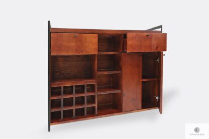 Bar cabinet of solid wood and steel to living room