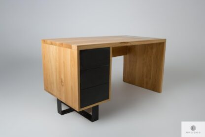 Oak desk with drawers with metal legs MOCCA