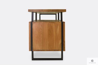Desk of solid oak wood with metal legs HUGON