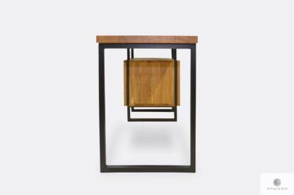Desk of solid wood and black steel HUGON