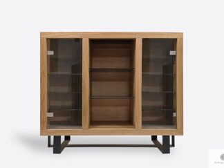 Oak chest of drawers with glass to living room office MOCCA