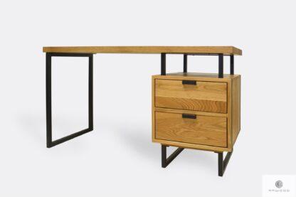 Oak desk with black metal legs HUGON