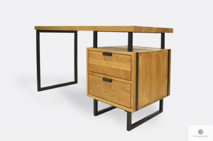 Oak industrial desk with drawers to office HUGON