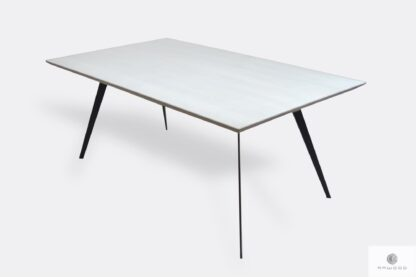 Oak dining table with wooden tabletop and black legs VITA