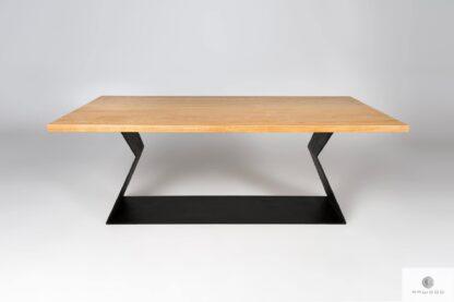 Dębowy stół na czarnej metalowej podstawie do jadalni PHARELL