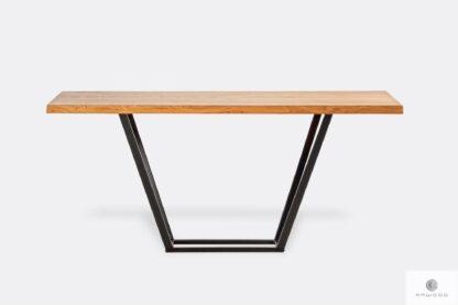 Oak table on black metal base to living room LIBRO