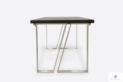 Dębowy stół z białymi metalowymi nogami ELEGANT