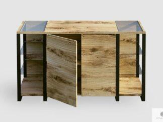 Designerska komoda dębowa industrialna z litego drewna i metalu IBSEN