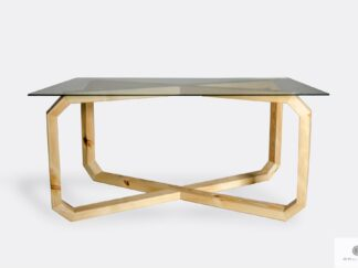 Design table with glass tabletop and wooden base OMNIS