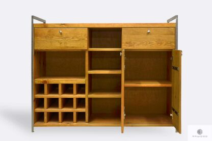 Wooden liquor cabinet with shelves cabinets to dining room
