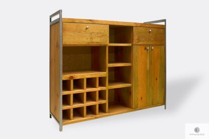 Wooden loft home bar cabinet with shelves drawers to living room