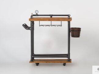 Industrial bar cart on wheels wooden bar DENAR