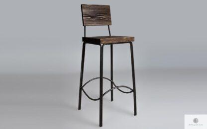 Drewniany hoker krzesło barowe industrialne HEGEL