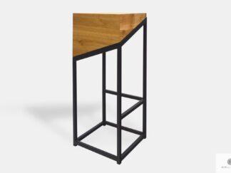 Barstool of solid oak wood and black steel leg ALEX