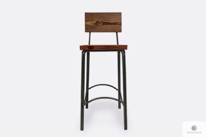 Hoker krzesło barowe drewniane industrialne HEGEL