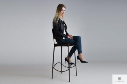 Hoker krzesło barowe drewniane z oparciem HEGEL
